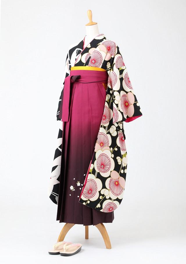 卒業式 袴 レンタル 12点セット 送料無料 gfk097 黒地に鶴と梅 片身変わり 振袖