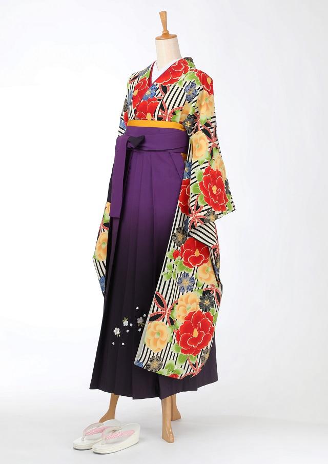 卒業式 袴 レンタル 12点セット 送料無料 gfk105 ストライプ 椿と桜 振袖