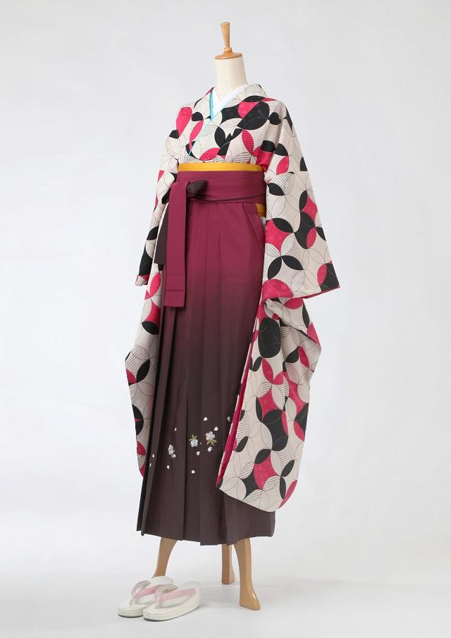 卒業式 袴 レンタル 12点セット 送料無料 gfk102 モダンな七宝柄 ピンクと黒 水玉の地模様 振袖