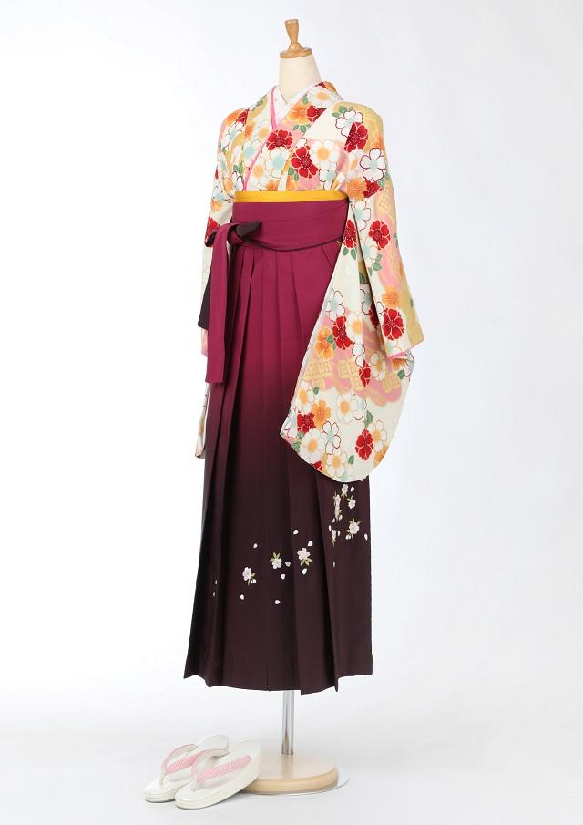 卒業式 袴 レンタル 12点セット 送料無料 gr156 生成地に桜ピンクと黄色