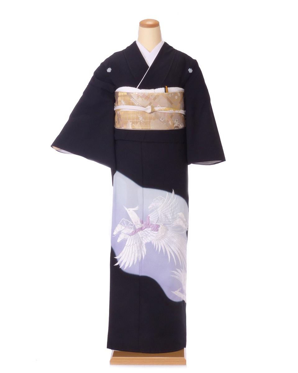 黒留袖 レンタル 着物 黒留袖 K40 紫系 白の鳳凰 Sサイズ 結婚式 貸衣裳 貸衣装 和服 往復送料無料 【レンタル】