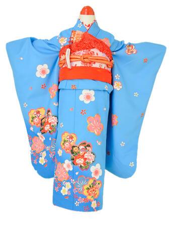 ※一旦倉庫/肩裄・丈外してある 七五三レンタル フルセット 7才 女児「ブルー桜」(身長115cm~125cm) j711