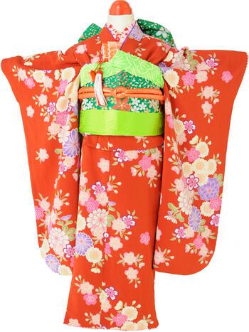 七五三レンタル フルセット 7才 女児「赤桜」(身長105cm~115cm) j715【レンタル】【ポイント20倍・ブラックフライデー】