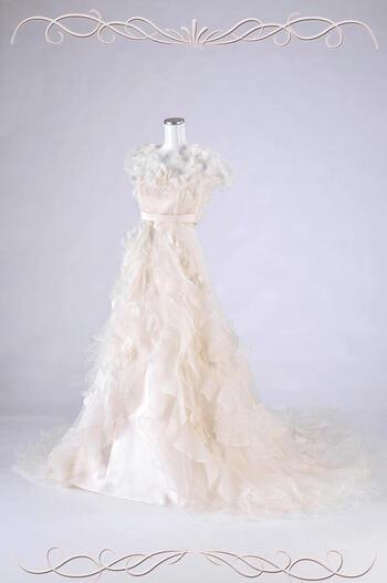 ウェディング ドレス レンタル(9号)[em001]「花ボレロ巻スカート3パターン」【シンプルなエンパイアサテンドレスにパーツを付け加えていくと、お花とフリルがいっぱいのラブリーなドレスに早変わり!】【fy16REN07】