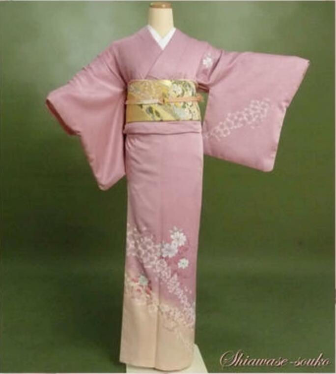 【新春初売】訪問着 レンタル フルセット「ピンク桜」f002 足袋までついたフルセット 式場届けで返却らくらく・往復送料込・格安