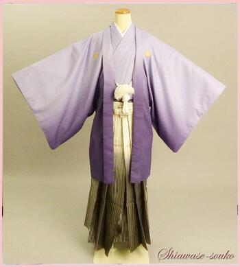 男性 紋付袴 一式セット レンタル「紫ボカシ」dm007(身長168~172cm位)【レンタル】【母の日ポイント10倍セール】