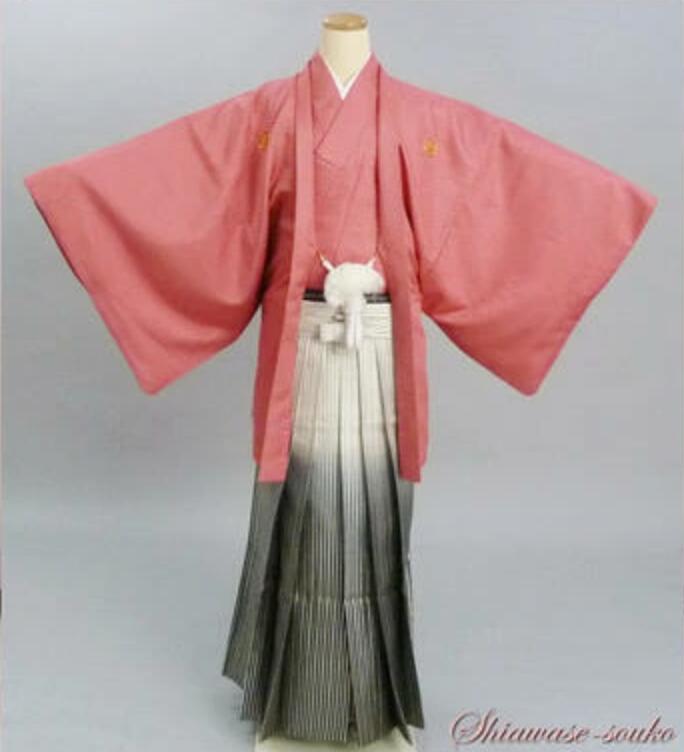 男性 紋付袴 一式セット レンタル「ピンク」dm010(身長163cm~167cm位)