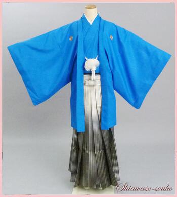 男性 紋付袴 一式セット レンタル「ブルー」dm013(身長173~177cm位)【レンタル】【母の日ポイント10倍セール】
