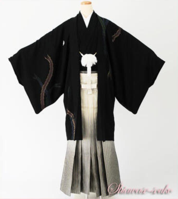 男性 紋付袴 一式セット レンタル「黒鳳凰」dm016(身長178~180cm位)