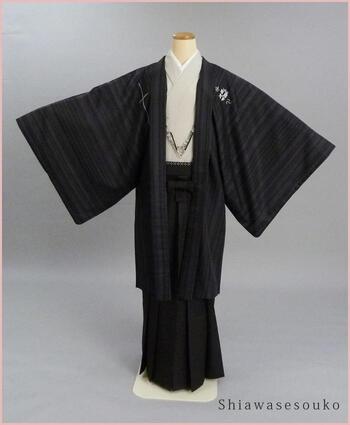 男性 紋付袴 一式セット レンタル「ジャパンスタイル縞セット」dm018(身長173~177cm位)