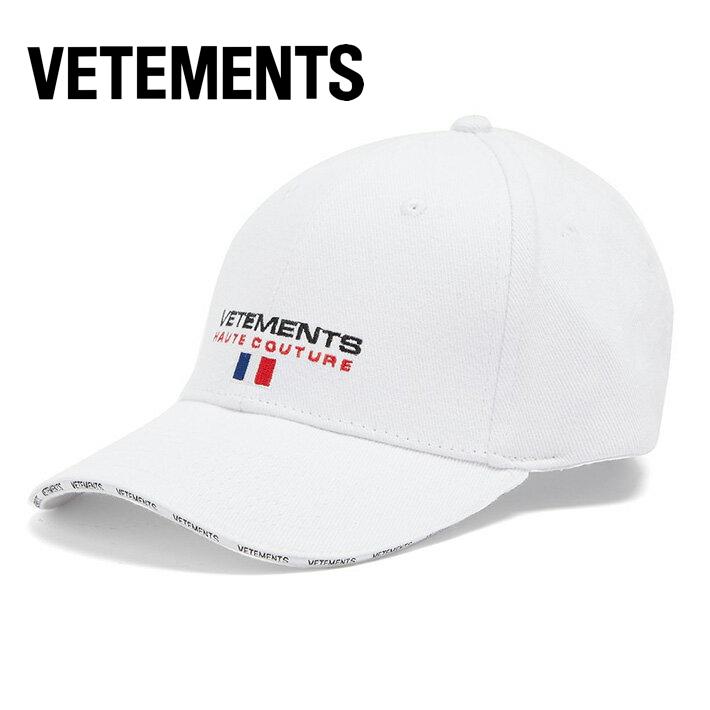 VETEMENTS ヴェトモン キャップ 2018年春夏 Logo-embroidered canvas cap ホワイト【新品 正規品】WSS18AC16 White ベースボールキャップ フロント バック ロゴ刺繍入り 男性 女性兼用 レディース メンズ 帽子