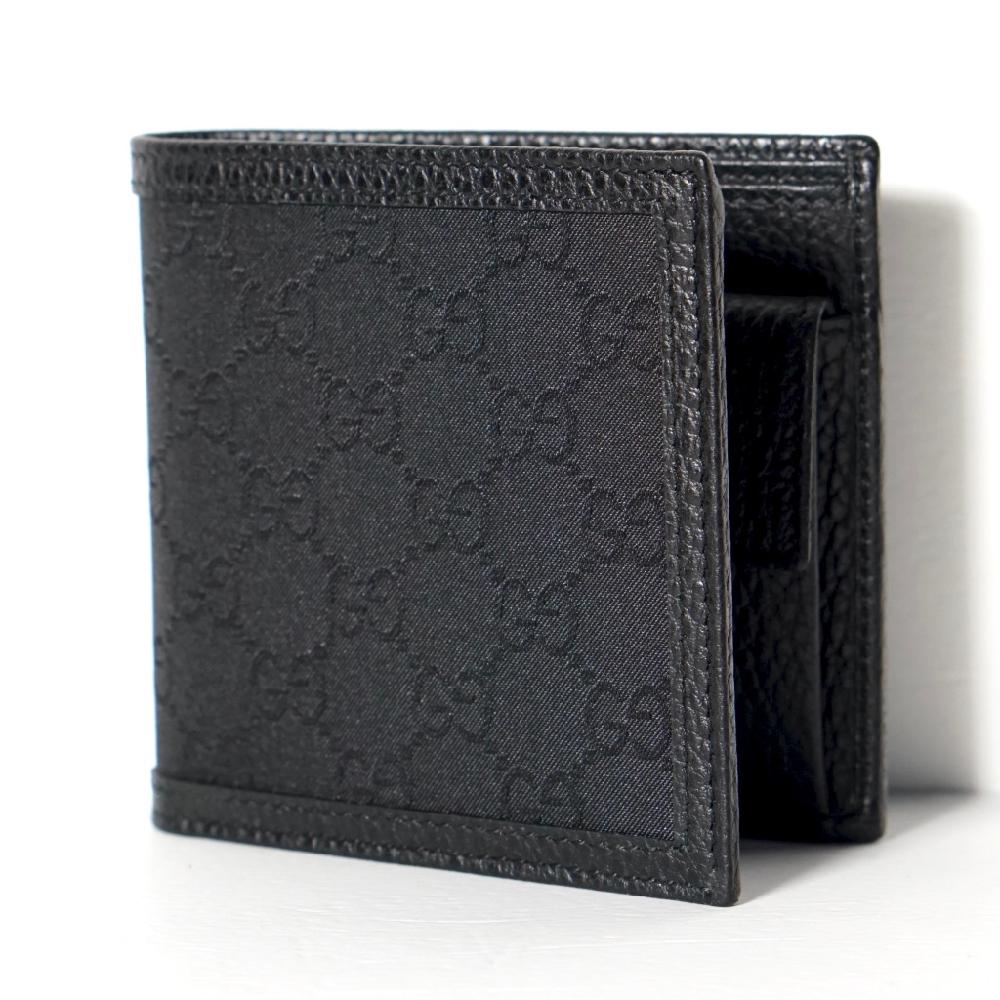 f7aa4ec602a5 新品正規 グッチ GUCCI メンズ 二つ折り 財布 黒【純正紙袋リボン選択可 ...