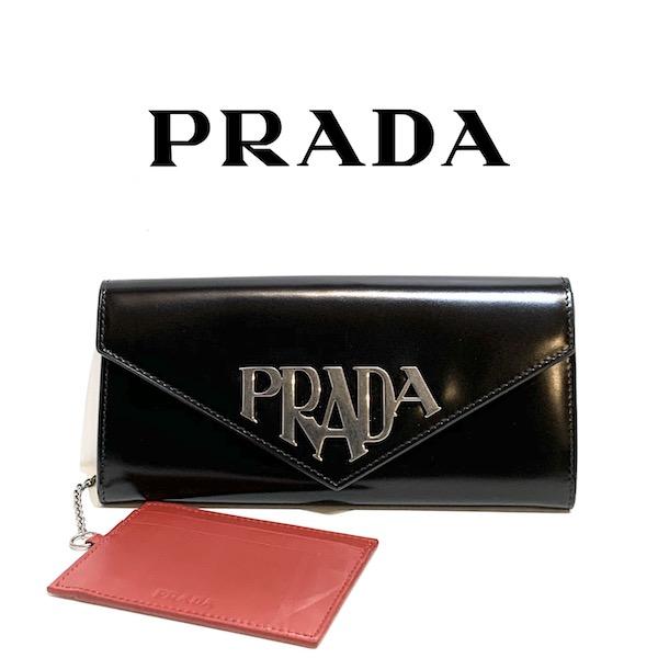 PRADA プラダ レディース 二つ折り 長財布 1MH037 ZO6 F0002 メタルロゴ ブラック【新品 正規品】SPAZZOLATO パスケース付き NERO レディース【純正紙袋選択可】正規ファクトリーストア品 本物保証!!