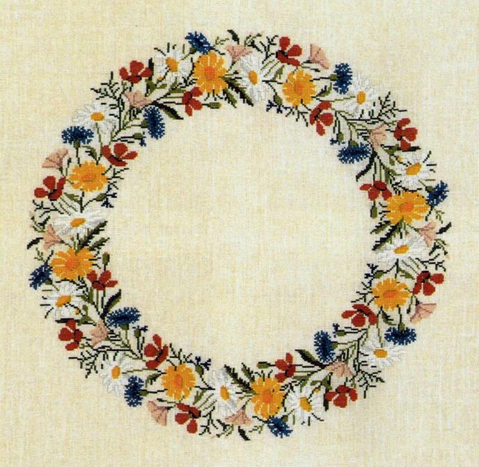 フレメ クロスステッチ刺しゅうキット 夏の花輪のテーブルクロス 輸入 デンマーク 北欧 上級者 06-6400