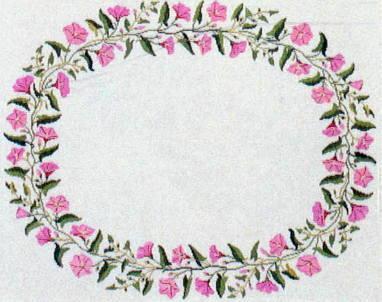 フレメ クロスステッチ刺繍キット ヒルガオの花輪のテーブルクロス デンマーク 北欧 上級者 輸入 06-4627