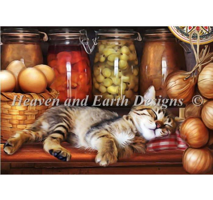 クロスステッチ図案 刺繍 HAED 手芸 豪華な 難しい 古いキッチンと子猫 QS 買収 Ye Colors Old Kitten Kitchen Max