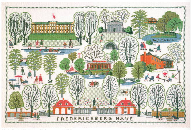 フレメ クロスステッチ刺繍キット FREDERIKSBERG HAVE フレデリックスベル公園 Haandarbejdets Fremme デンマーク 北欧 10B GB 上級者 30-3083,01