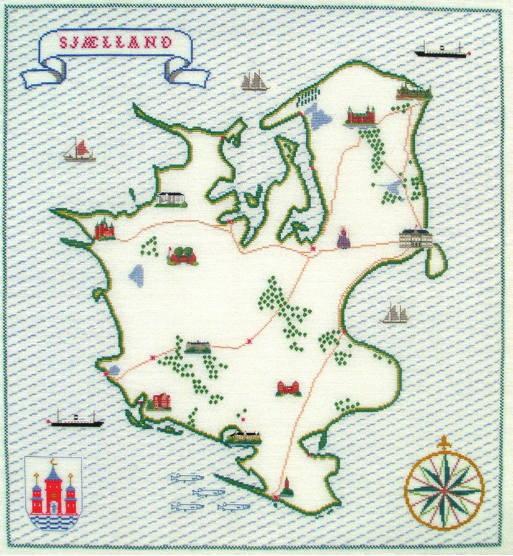 【送料無料】フレメ Sjællandkort ニュージーランド地図 12B クロスステッチ Haandarbejdets Fremme キット デンマーク 北欧 ギルド 刺しゅう GB 30-2389