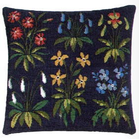 デンマークフレメ クロスステッチ刺繍キット 【青い花のクッション】 輸入 上級者 北欧 20-3284,02