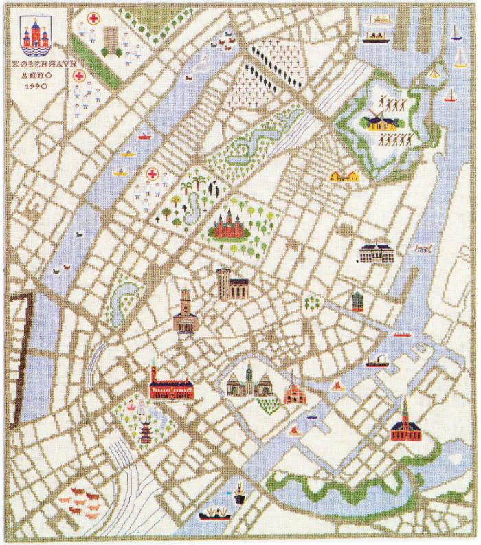 フレメ クロスステッチ刺繍キット 輸入 Map of Copenhagen コペンハーゲン地図 Haandarbejdets Fremme デンマーク 北欧 10B IW 上級者 30-4797,01