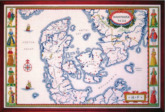 【送料無料】フレメ Danmarkskort デンマーク地図 12B キット Haandarbejdets Fremme クロスステッチ デンマーク 北欧 ギルド 刺しゅう 03-4442