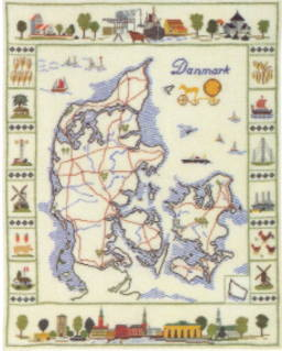 フレメ クロスステッチ刺繍キット 輸入 Danmarkskort デンマーク地図 Haandarbejdets Fremme デンマーク 北欧 12B AN 上級者 30-3018