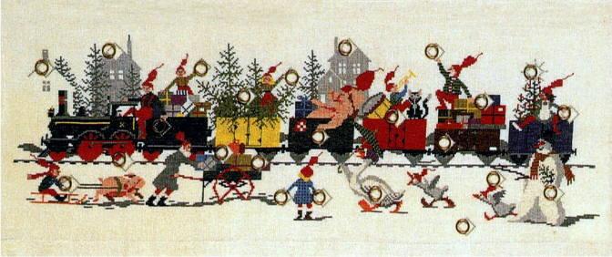フレメ クロスステッチ刺しゅうキット 【クリスマスの列車に乗って】 デンマーク刺繍 北欧 輸入 上級者 34-6103