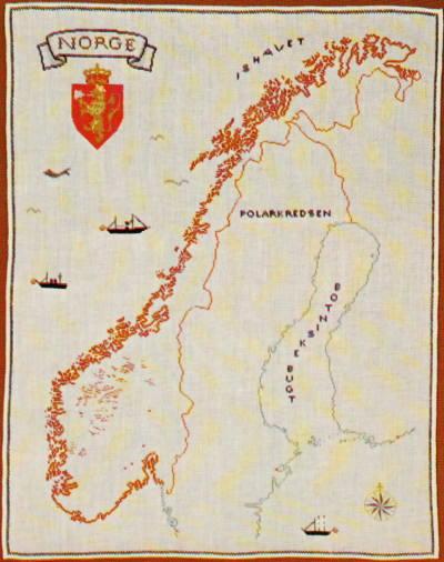 【送料無料】フレメ Norgekort ノルウェーの地図 12B クロスステッチ Haandarbejdets Fremme キット 刺しゅう デンマーク 北欧 ギルド HF 30-4888