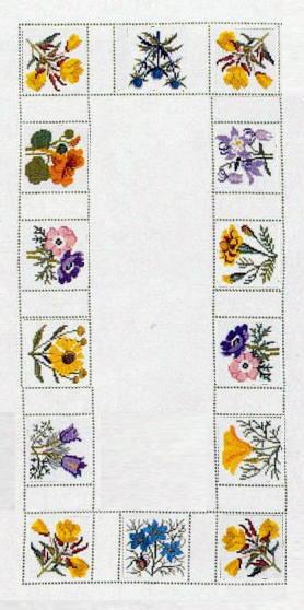 フレメ クロスステッチ刺繍キット 【夏の花のテーブルランナー】 デンマーク 北欧 上級者 輸入 16-4410