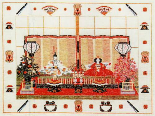 フレメ クロスステッチ刺繍キット 輸入 Japansk tehus 日本の茶室/雛祭り Haandarbejdets Fremme デンマーク 北欧 IW 30-5702 上級者