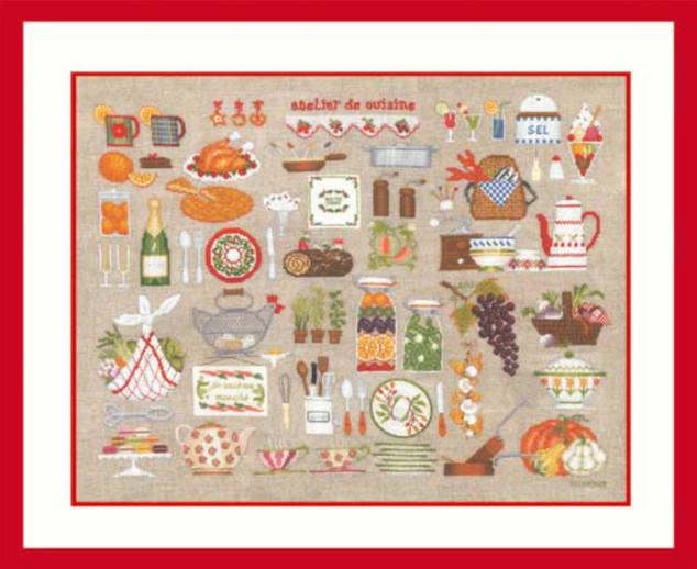 クロスステッチ プチポアン刺繍キット ル・ボヌール・デ・ダム Le Bonheur des Dames 刺しゅう Atelier cuisine クッキングワークショップ フランス 上級者 2684