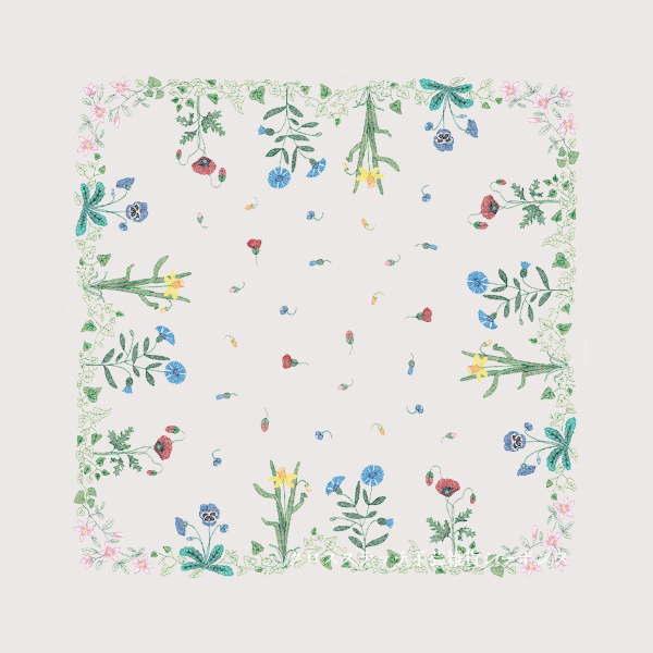 刺繍キット 図案プリント済み 輸入 ルボヌールデダム Le Bonheur des Dames 刺しゅう Printed Flower Felt Tablecloth フラワーフェルトのテーブルクロス フランス 上級者 6110