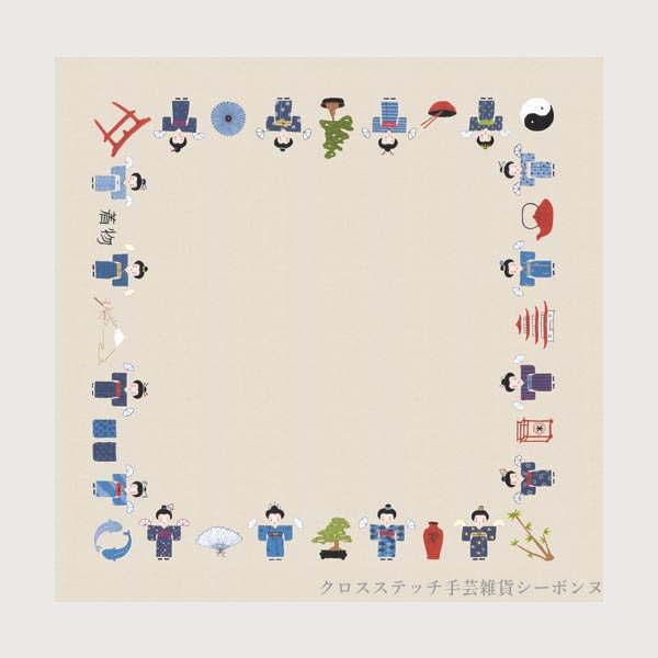 刺繍キット 図案プリント済み 輸入 ルボヌールデダム Le Bonheur des Dames 刺しゅう Japanese tablecloth filled 日本の食器棚テーブルクロス フランス 上級者 6108