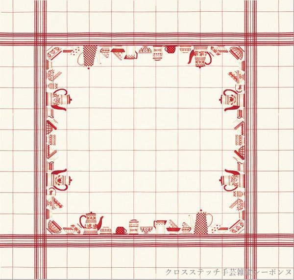 クロスステッチ刺繍キット 輸入 ルボヌールデダム Le Bonheur des Dames 刺しゅう Red table cloth 赤いテーブルクロス フランス 上級者 6022blanc_1