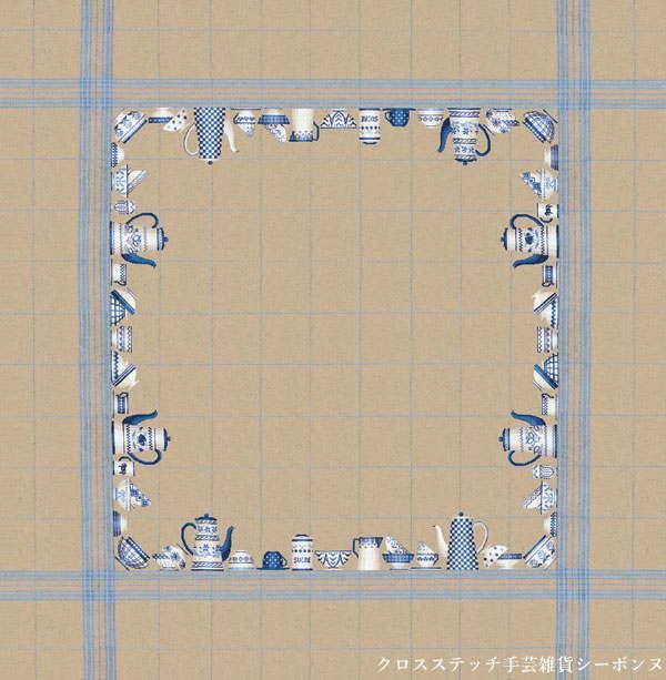 クロスステッチ刺繍キット 輸入 ルボヌールデダム Le Bonheur des Dames 刺しゅう Natural linen tablecloth blue dish decor 青い皿のテーブルクロス フランス 上級者 6016bis_1