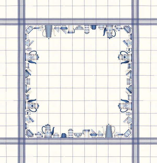 クロスステッチ刺繍キット 輸入 ルボヌールデダム Le Bonheur des Dames 刺しゅう Nappe en lin blanc decor vaisselle bleu marine 青い皿のテーブルクロス フランス 上級者 6016blc-ma