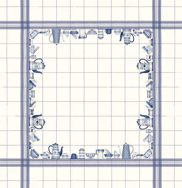 Bonheur des 青い皿のテーブルクロス Dames Le フランス 輸入 marine vaisselle Nappe lin bleu 6016blc-ma en decor クロスステッチ刺繍キット ルボヌールデダム 刺しゅう 上級者 blanc
