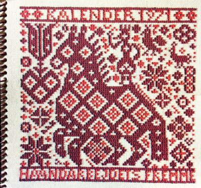 【中古】フレメ 1971 クロスステッチ刺繍図案カレンダー Ida Winckler 図案 Haandarbejdets Fremme デンマーク 北欧
