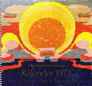 【中古/送料無料】フレメ 1973 カレンダー Bjørn Wiinblad 図案 Haandarbejdets Fremme チャート クロスステッチ デンマーク 北欧 手工芸 ギルド 刺しゅう