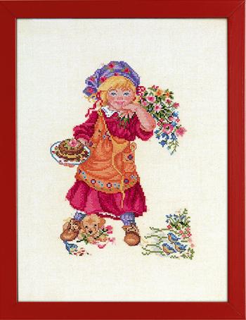 EVA ROSENSTAND クロスステッチ刺繍キット 輸入 女の子とパイ Pige med lagkage デンマーク 北欧 上級者 12-971