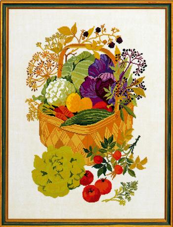 クロスステッチ刺繍キット EVA ROSENSTAND 野菜バスケット Basket with vegetables デンマーク 北欧 刺しゅう リネン 上級者 08-4176