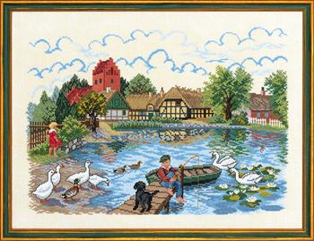 EVA ROSENSTAND クロスステッチ刺しゅうキット 村の池 Village pond 2 デンマーク 北欧 輸入 上級者 12-729