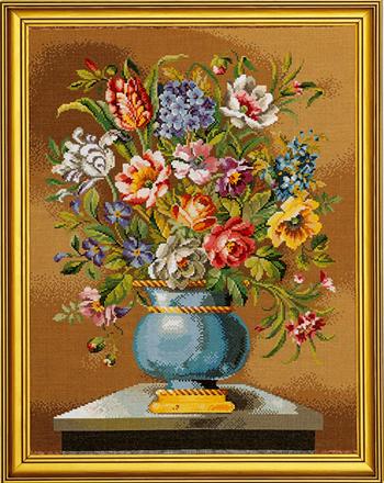 【送料無料】EVA ROSENSTAND 青い花瓶 Blue vase クロスステッチ キット 上級者向け デンマーク 北欧 刺しゅう 14-163