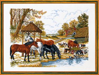 【送料無料】EVA ROSENSTAND 馬 Heste ved foderhus クロスステッチ キット デンマーク 北欧 刺しゅう 14-200