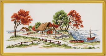 EVA ROSENSTAND 水と農家 Bondehus v. vandet クロスステッチ キット 上級者向け デンマーク 北欧 刺しゅう 14-473 【送料無料】