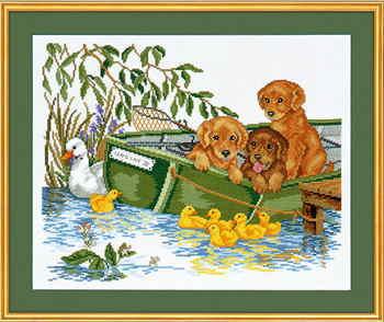 EVA ROSENSTAND クロスステッチ刺しゅうキット 【ボートの中の子犬】 デンマーク 北欧 輸入 上級者 12-967