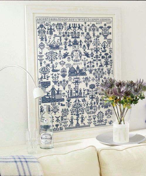 ペルミン(Permin)刺繍キット 輸入 サンプラー Name cloth anno 1830 blue デンマーク 北欧 上級者 39-9440