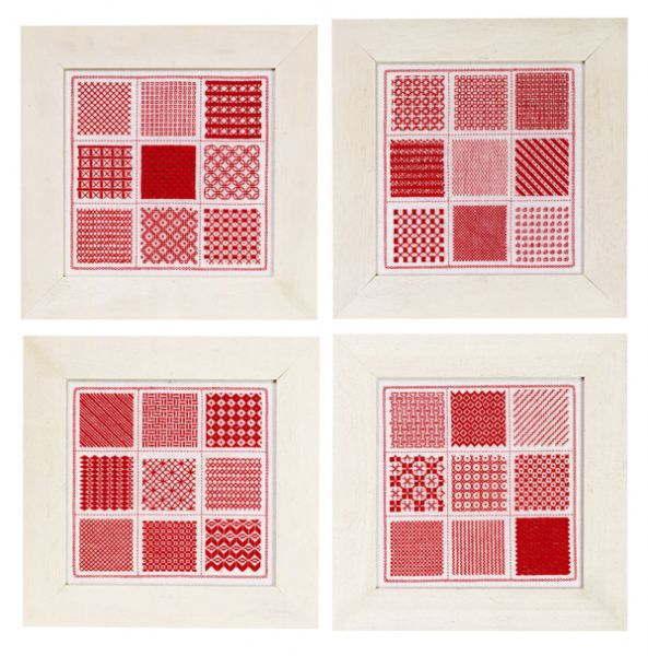 PERMIN レッドカラー Sampler in red colours ペルミン 刺繍 キット デンマーク 39-1400 【DM便対応】