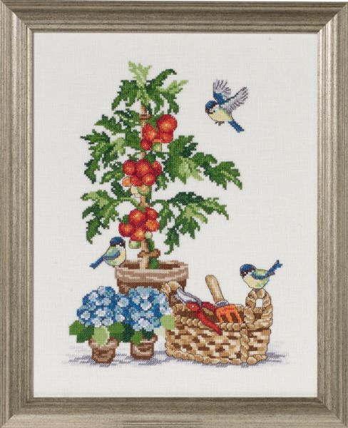 クロスステッチ刺繍 完成品 輸入 ペルミン Permin of Copenhagen トマトとシジュウカラ Tomater & Mejser デンマーク 北欧 刺しゅう 70-7351M