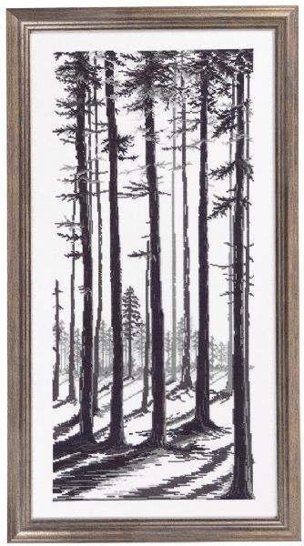 クロスステッチ刺繍キット 輸入 ペルミン Gray black trees ブラックツリー Permin of Copenhagen デンマーク 上級者 70-5130